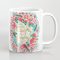 earth Mugs featuring The Earth Laughs in Flowers – Pink & Gold by Cat Coquillette