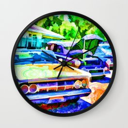 A line of classic antique cars 3 Wall Clock