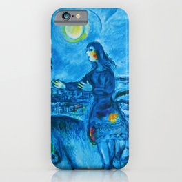 Lovers Over Paris, France landscape painting by Marc Chagall iPhone Case
