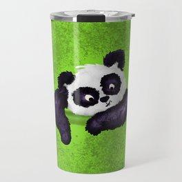 Cute Painted Panda Bear on green Travel Mug