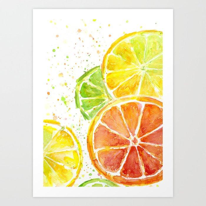 Fruit Watercolor Citrus Kunstdrucke