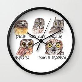 Owl Caffeine Meter -  funny owl coffee Wall Clock