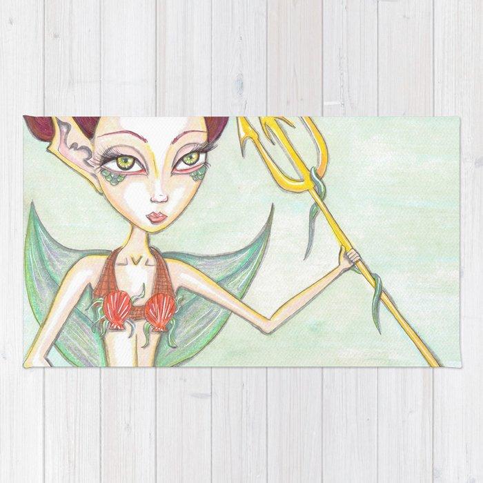 Tritans Mermaid Daughter Rug