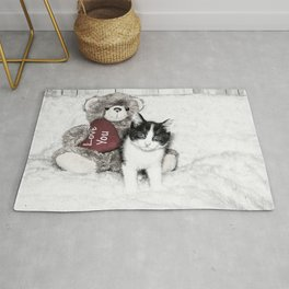 Valentines kitten and teddy Rug