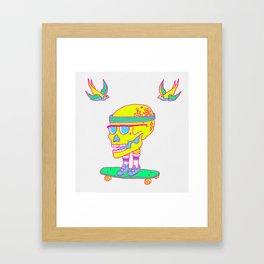 Skull on a skateboard Framed Art Print