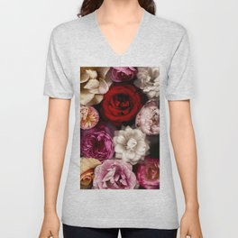 Pink, White, and Red Roses Unisex V-Neck