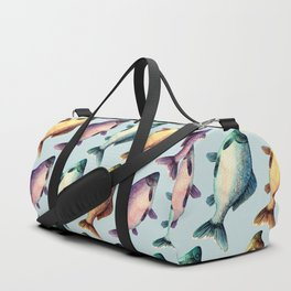 Colorful fishes pattern with bluish background Duffle Bag