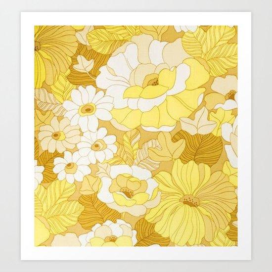 Retro floral sheets yellows Art Print