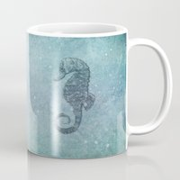 sea horse Mugs featuring sea & horse by Steffi Louis