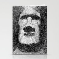 island Stationery Cards featuring Easter island - Moai statue - Ink by Nicolas Jolly