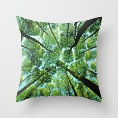Looking up in Woods Throw Pillow