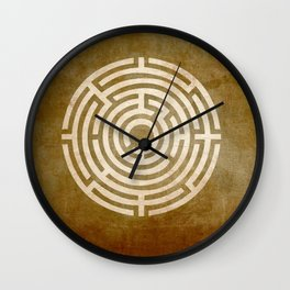 Solving Mazes Gold Wall Clock