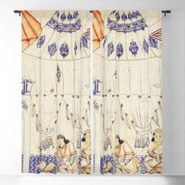 14th Century Mongol Prince Studying Koran Watercolor Painting Blackout Curtain