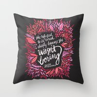 fitzgerald Throw Pillows featuring Zelda Fitzgerald – Pink on Charcoal by Cat Coquillette
