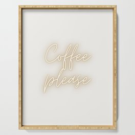 Coffee Please Pastel Saying Art Print | Typography Art Serving Tray