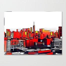 Mondrian Mosaic of Manhattan in Orange and Yellow Canvas Print