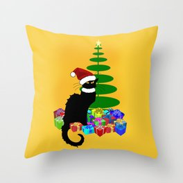 Christmas Le Chat Noir With Santa Hat Throw Pillow