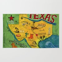 postcard Area & Throw Rugs featuring Postcard from Texas print by Christiane Engel