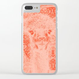 Ghostly alpaca and mandala in Fiesta Red Clear iPhone Case