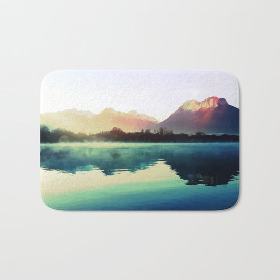 Mountains #watercolor Bath Mat