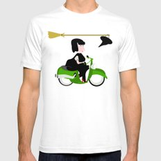 Witch Riding a Green Moped SMALL White Mens Fitted Tee