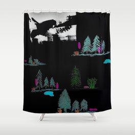 Through The Trees. Trees, Birds, Abstract, Black, White, Jodilynpaintings Shower Curtain