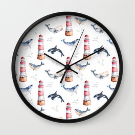 Sea Voyage Whales and Lighthouses Pattern Wall Clock