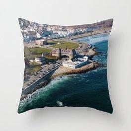 Narragansett Towers, Coast Guard House, Seawall, & Beach; Narragansett, Rhode Island Aerial View Throw Pillow