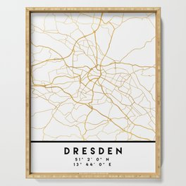 DRESDEN GERMANY CITY STREET MAP ART Serving Tray