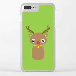 Red Nosed Reindeer Clear iPhone Case