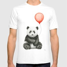 Panda and Red Balloon Baby Animals Watercolor MEDIUM Mens Fitted Tee White