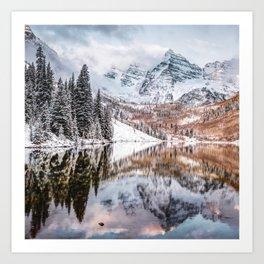 Maroon Bells Mountain Peaks During an Autumn Snow - Colorado Art Print