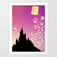 pixar Art Prints featuring Pixar Tangled Castle Print with Lanterns by Teacuppiranha