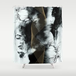 Abstract fashion with golden lines Shower Curtain