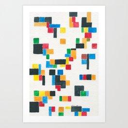 Abstract Watercolor Pixel Art Print