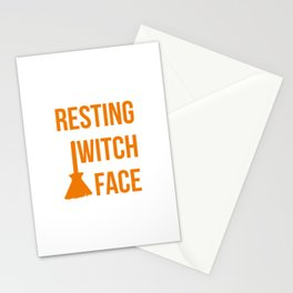 Resting Witch Face Halloween Fly On A Broom Stationery Cards