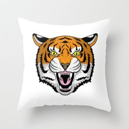 Tiger angry Throw Pillow