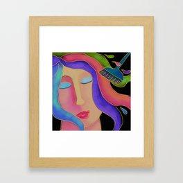 Hair Color Hair Stylist Abstract Digital Painting  Framed Art Print