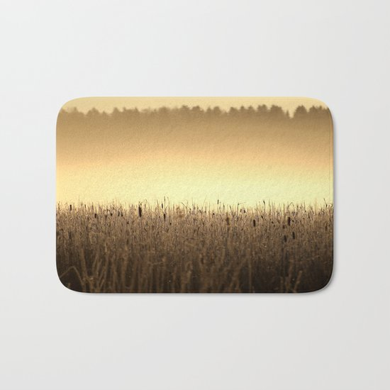 Bed Of Reeds In Golden Hour Bath Mat