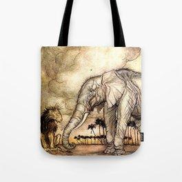 An Elephant and A Lion - Vintage Artwork Tote Bag