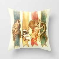 instagram Throw Pillows featuring House Brawl by Alice X. Zhang
