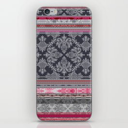 Burgundy, Pink, Navy & Grey Vintage Bohemian Wallpaper iPhone Skin