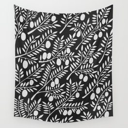 White Olive Branches Wall Tapestry