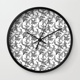 Black on White Vintage Lily-of-the-Valley Pattern Wall Clock