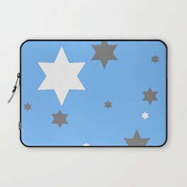 SIMPLY GREY & WHITE STARS ON BABY BLUE DESIGN Laptop Sleeve