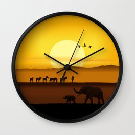 Morning in the African savannah Wall Clock