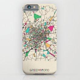 Colorful City Maps: Greensboro, North Carolina iPhone Case