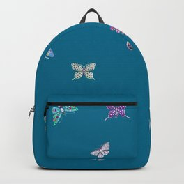 Christmas jeweled butterflies on teal, butterfly, jewels, precious, butterflies, new year, t Backpack