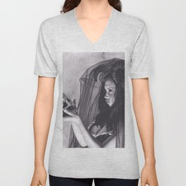 Realism Charcoal Drawing of Sexy Dark Queen in Veil with Skull Unisex V-Neck