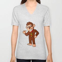 Monkey with tie Unisex V-Neck